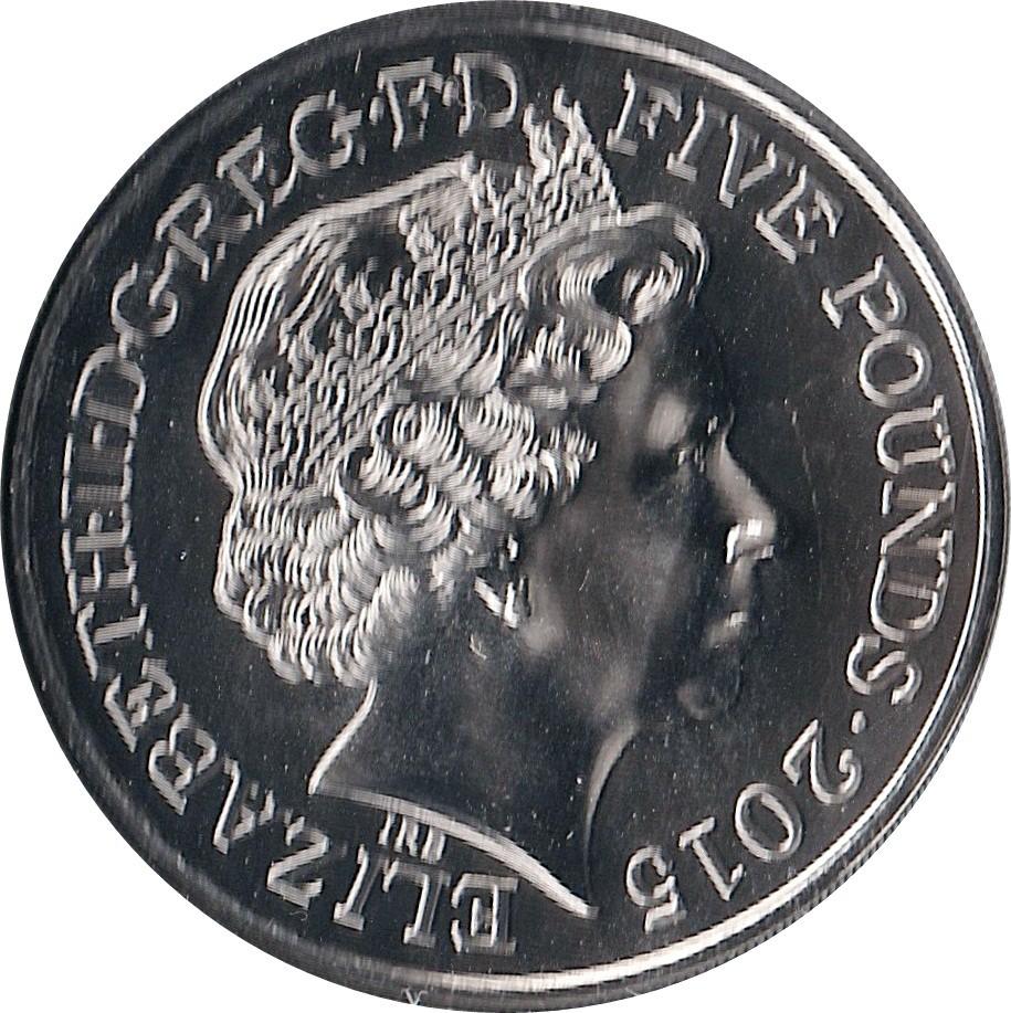 British 5 Pounds (2015 Elizabeth II-Battle of Waterloo)