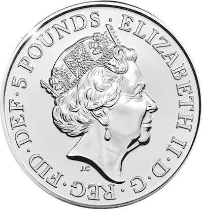 British 5 Pounds (2018 Elizabeth II-Four Generations of Royalty)