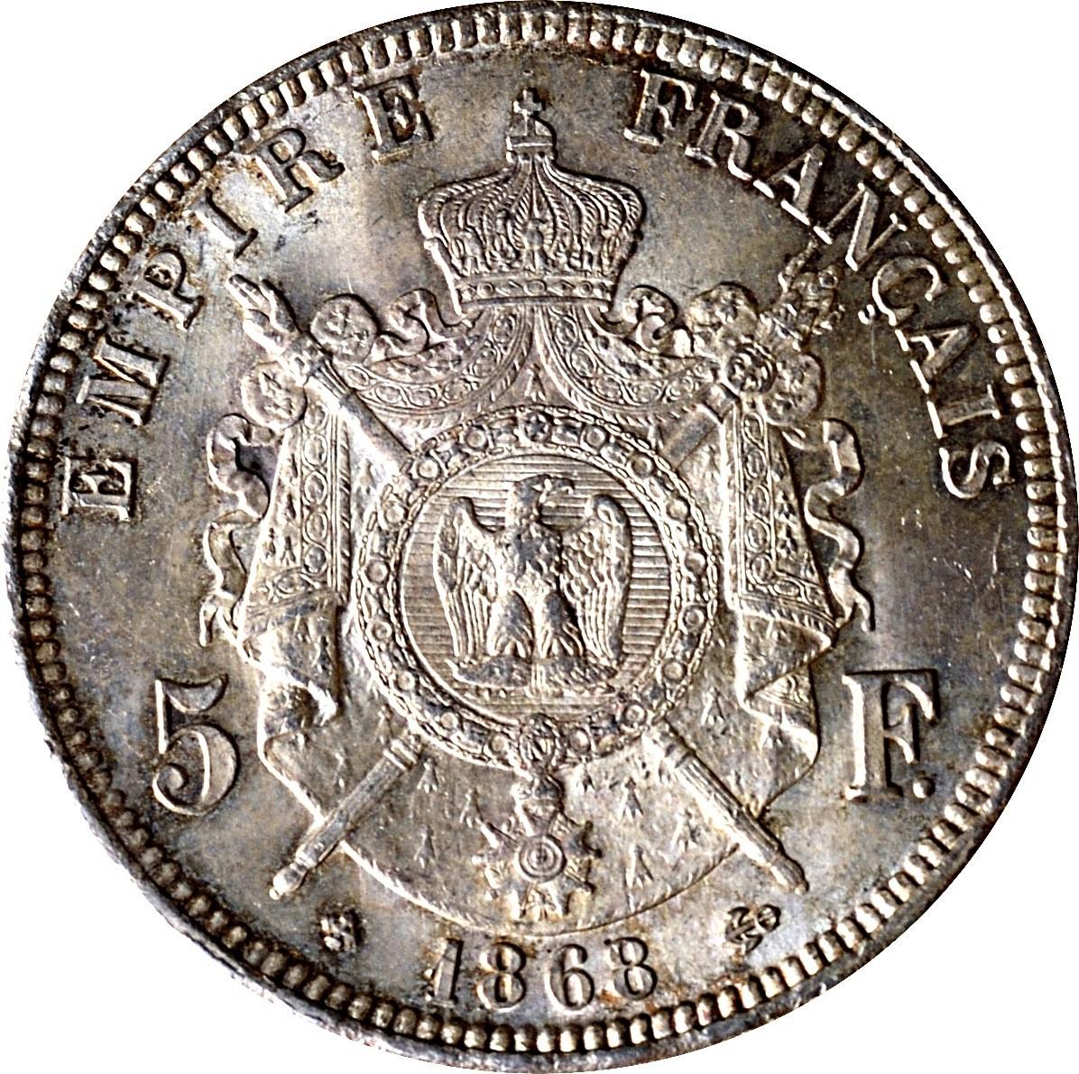 France 5 Francs (1861-1870 Napoleon III)