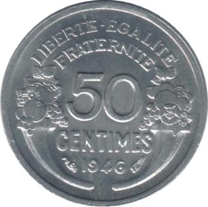 France 50 Centimes (1941-1947 Light Type)