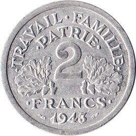 France 2 Franc (1943-1944 Vichy French State)