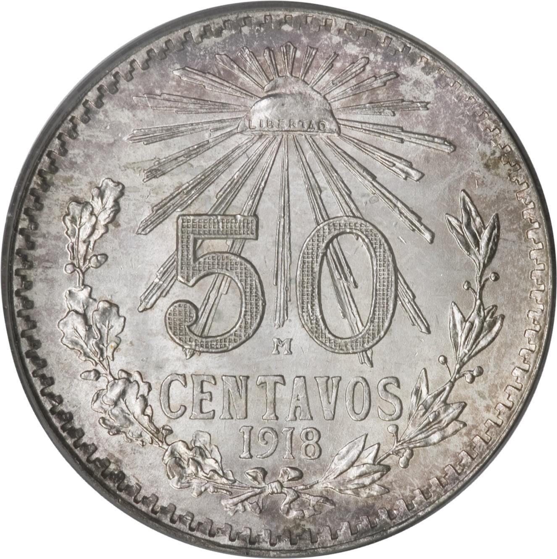 Mexico 50 Centavos (1918-1919 Small Size)