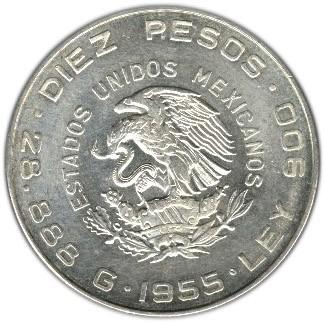 Mexico 10 Pesos (1955-1956 Hidalgo Grande)