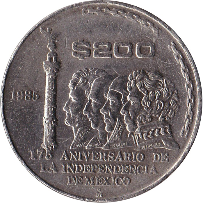 Mexico 200 Pesos (1985 175th Anniversary of Independence)