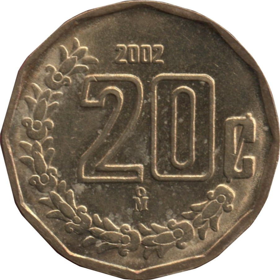 Mexico 20 Centavos (1992-2009 Large Type)