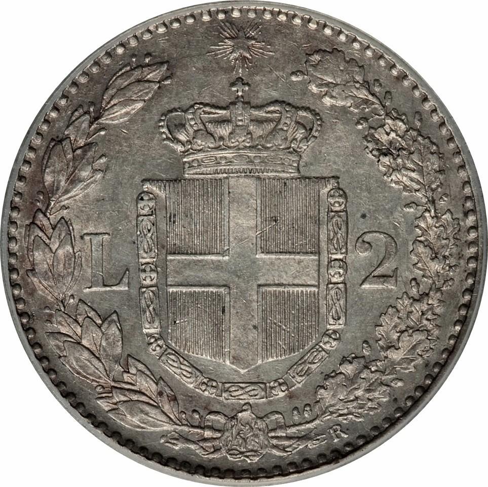 Italy 2 Lire (1881-1899 Umberto I)
