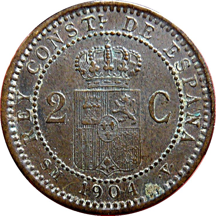 Spain 2 Centimos (1904-1905 Alfonso XIII)