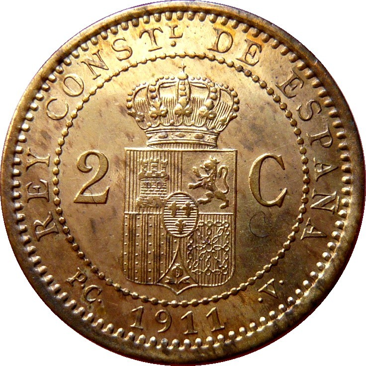 Spain 2 Centimos (1911-1912 Alfonso XIII)