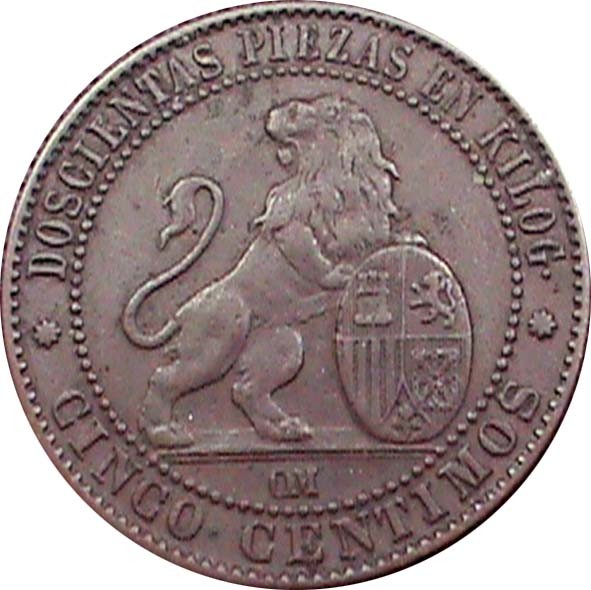 Spain 5 Centimos (1870 Provisional Government)