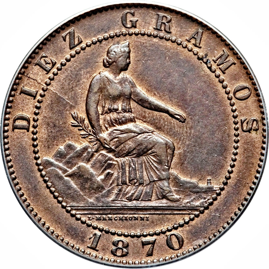 Spain 10 Centimos (1870 Provisional Government)