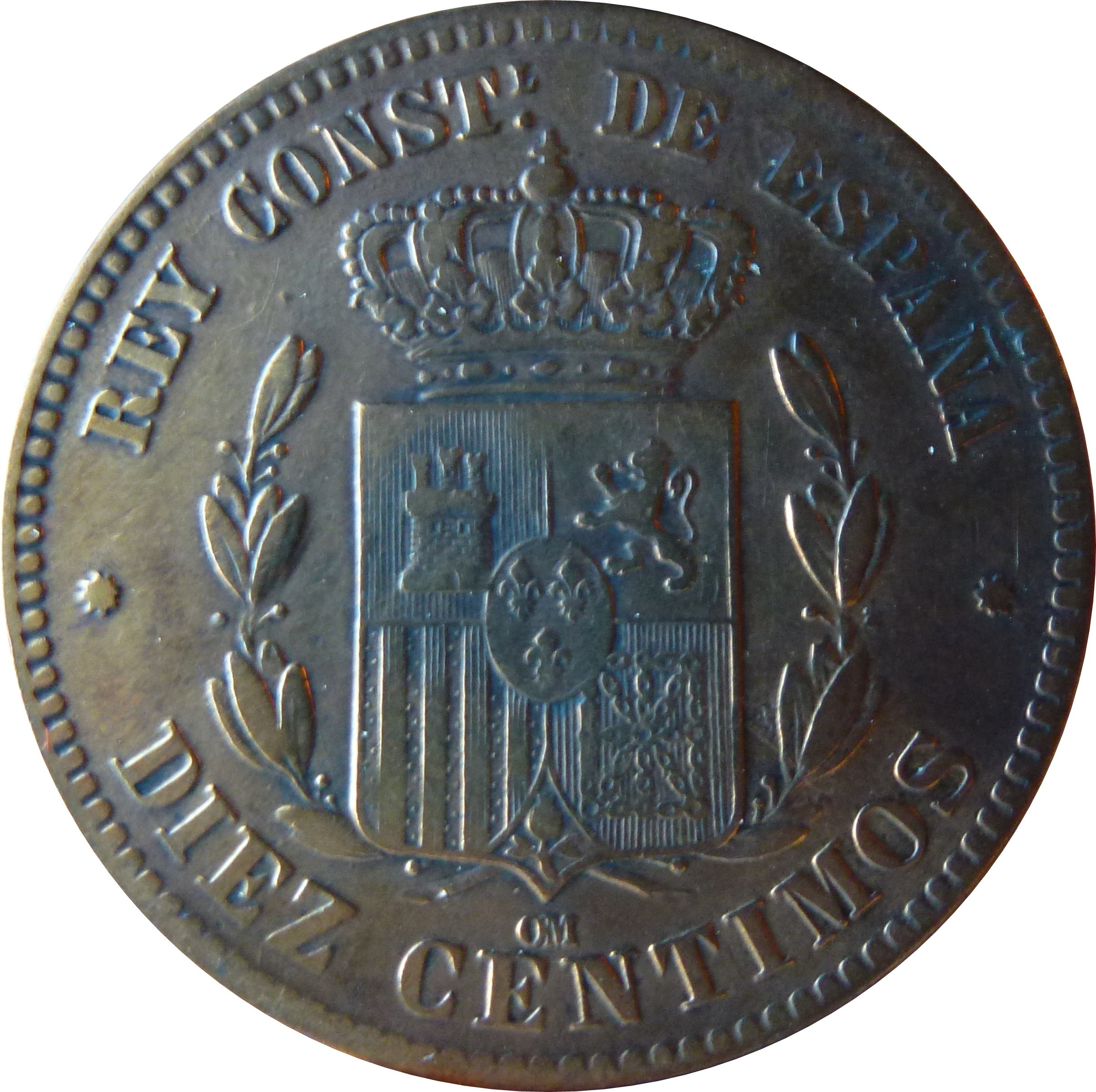 Spain 10 Centimos (1877-1879 Alfonso XII)