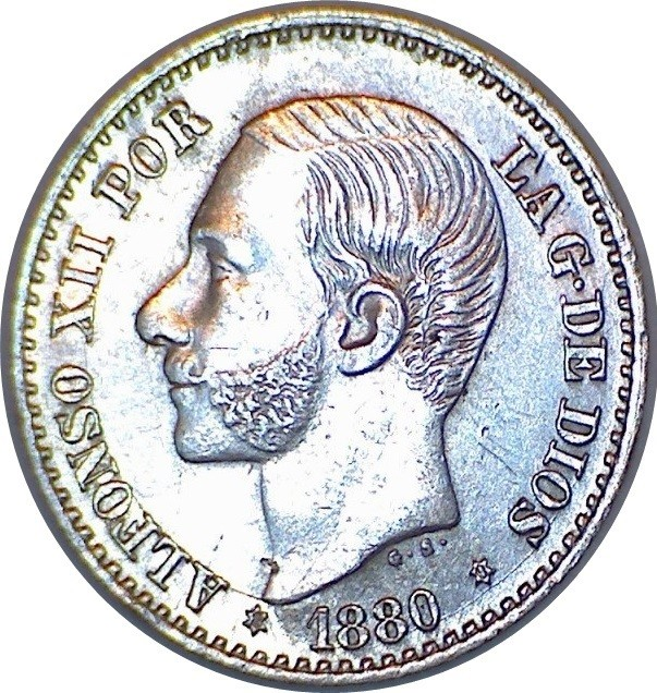 Spain 50 Centimos (1880-1885 Alfonso XII)
