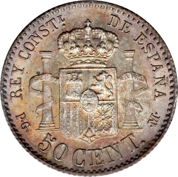 Spain 50 Centimos (1889-1892 Alfonso XIII)