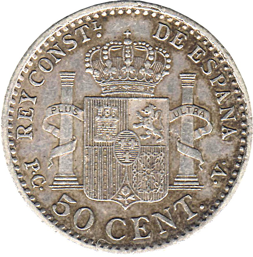 Spain 50 Centimos (1910 Alfonso XIII)
