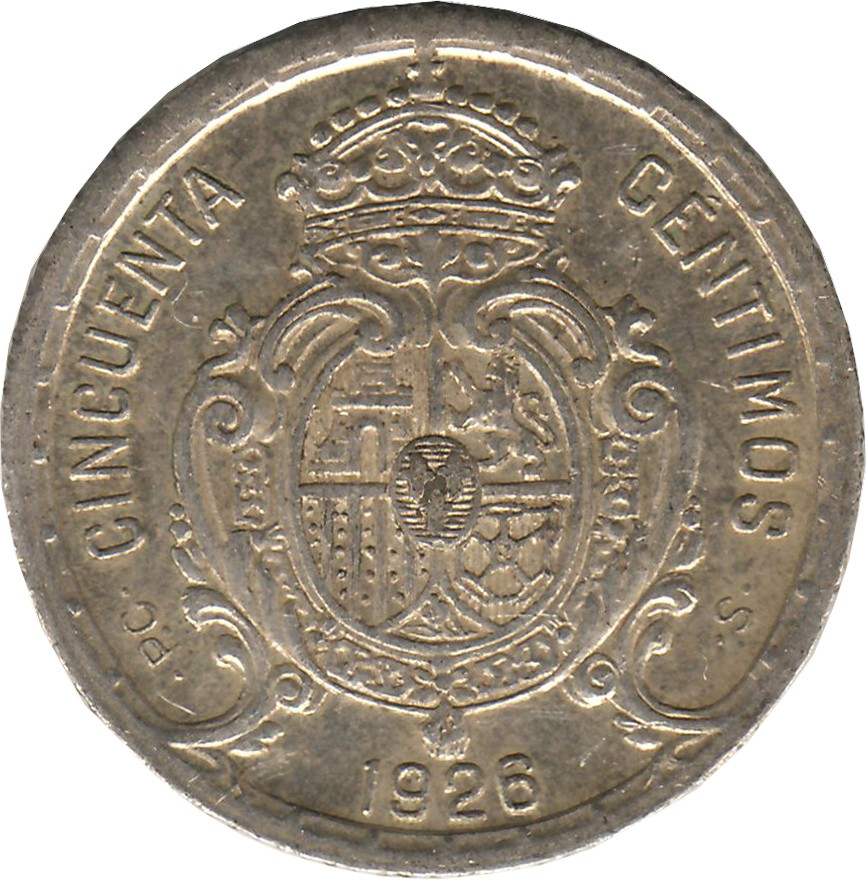 Spain 50 Centimos (1926 Alfonso XIII)