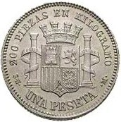 Spain 1 Peseta (1869 Provisional Government)