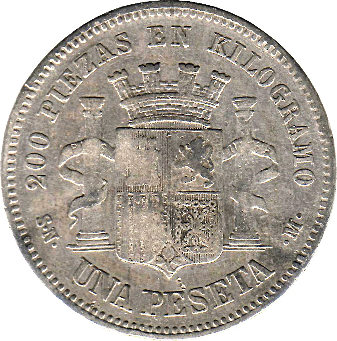 Spain 1 Peseta (1869-1870 Provisional Government)