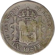 Spain 1 Peseta (1876 Alfonso XII)