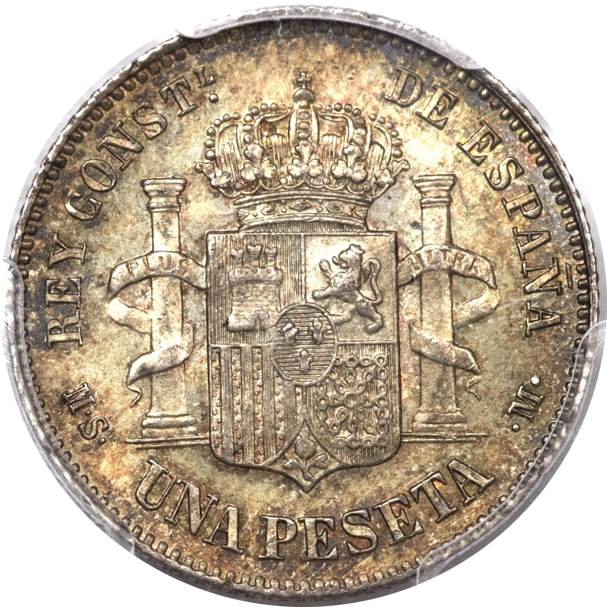Spain 1 Peseta (1881-1885 Alfonso XII)