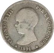 Spain 1 Peseta (1889-1891 Alfonso XIII)
