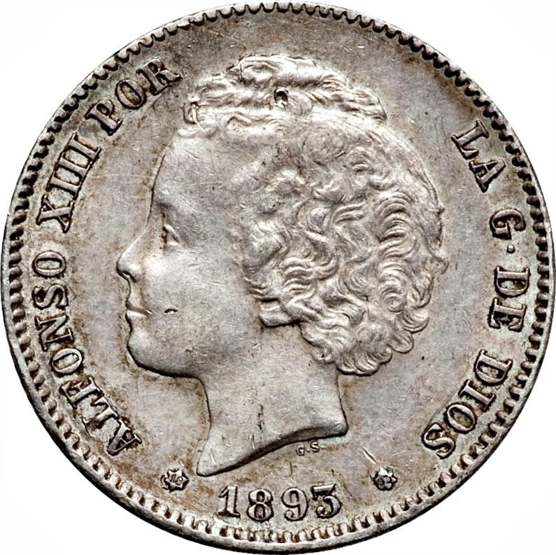 Spain 1 Peseta (1893-1894 Alfonso XIII)