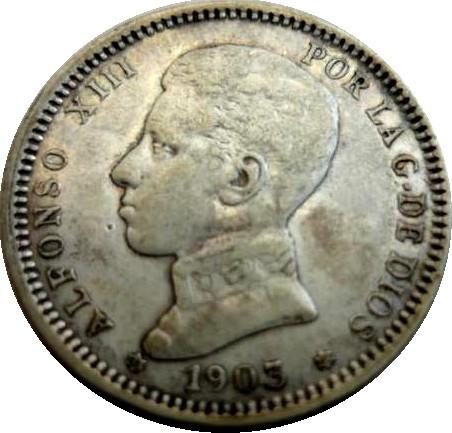 Spain 1 Peseta (1903-1905 Alfonso XIII)