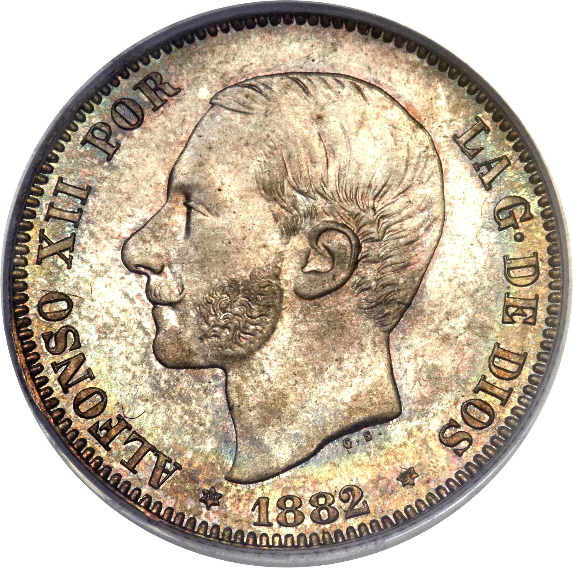 Spain 2 Pesetas (1879-1884 Alfonso XII)
