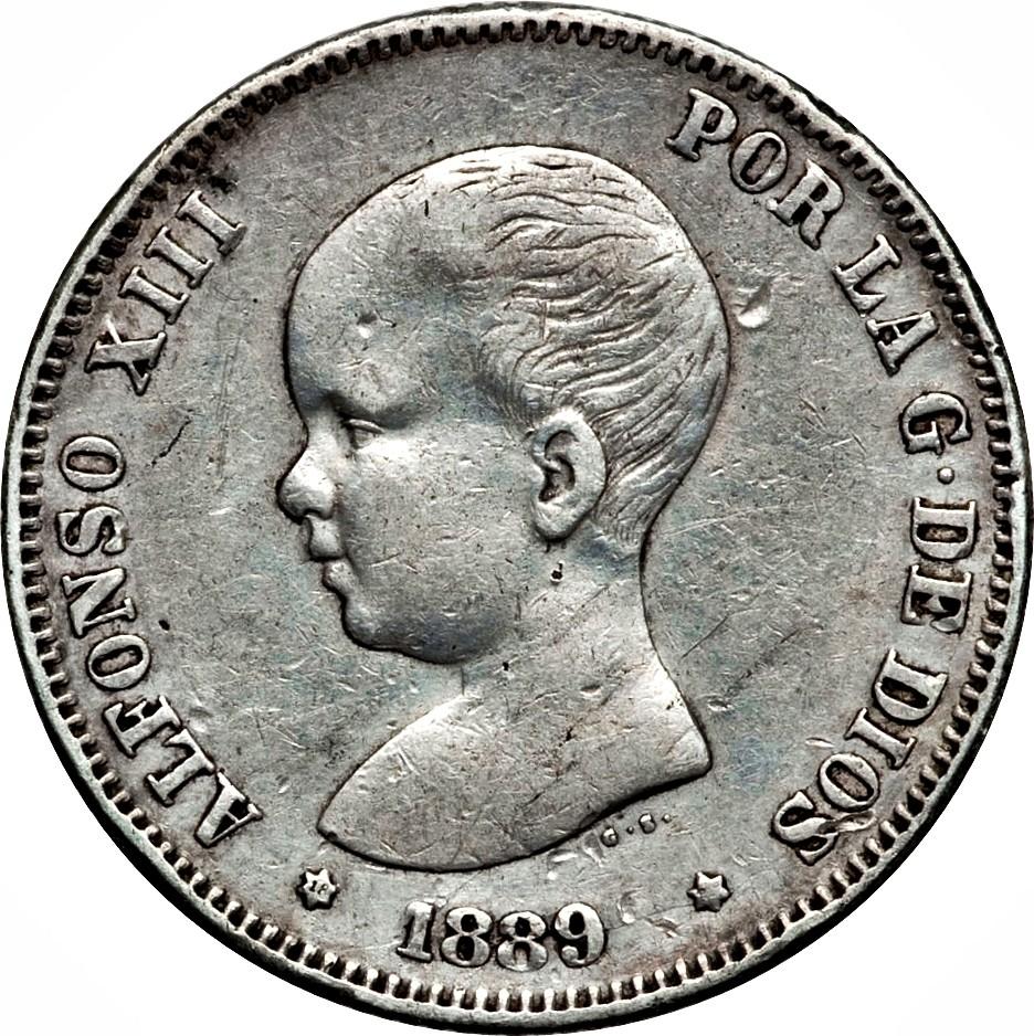Spain 2 Pesetas (1889-1892 Alfonso XIII)