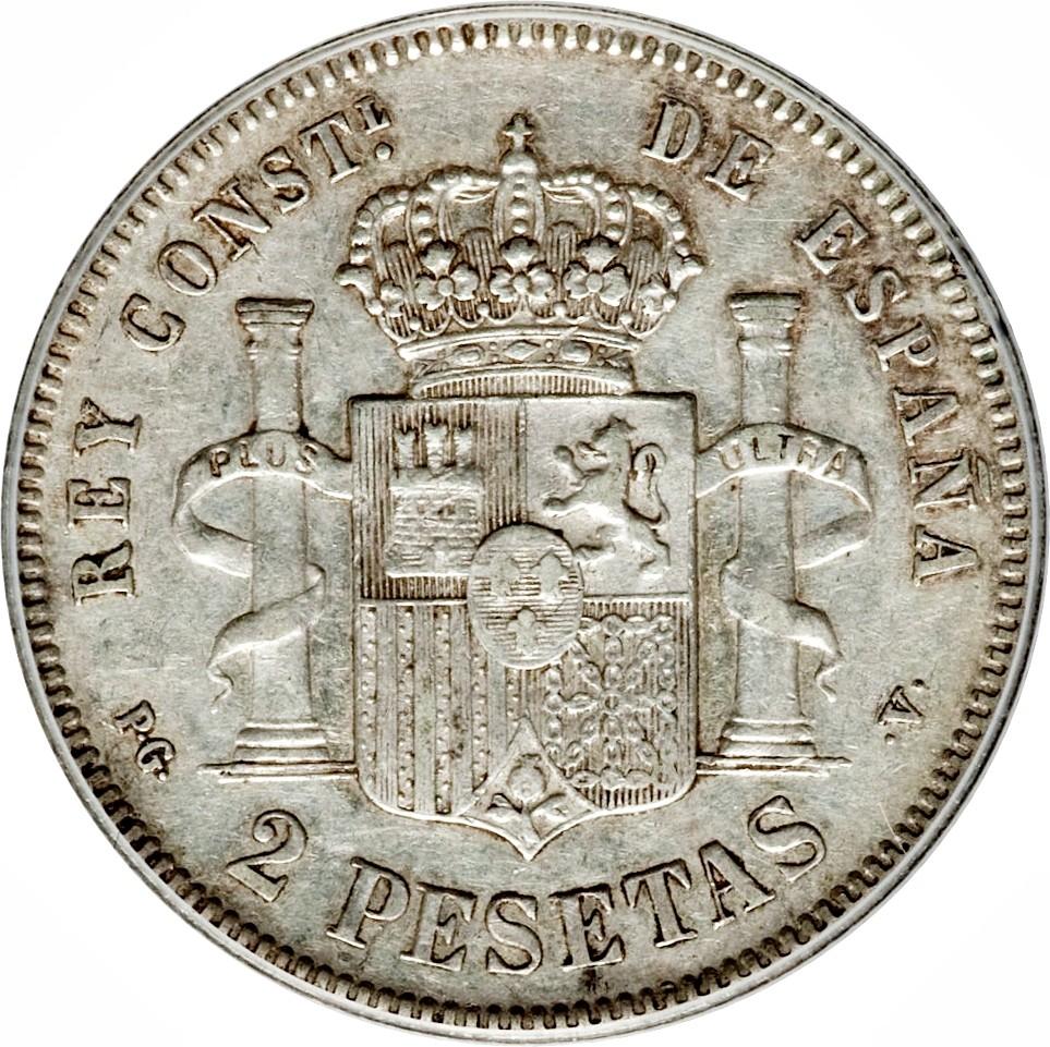 Spain 2 Pesetas (1894 Alfonso XIII)