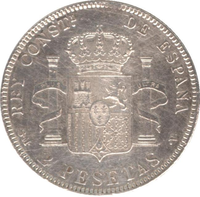 Spain 2 Pesetas (1905 Alfonso XIII)