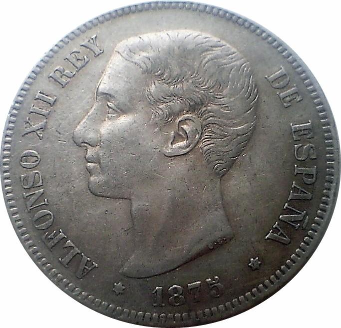Spain 5 Pesetas (1875-1877 Alfonso XII)
