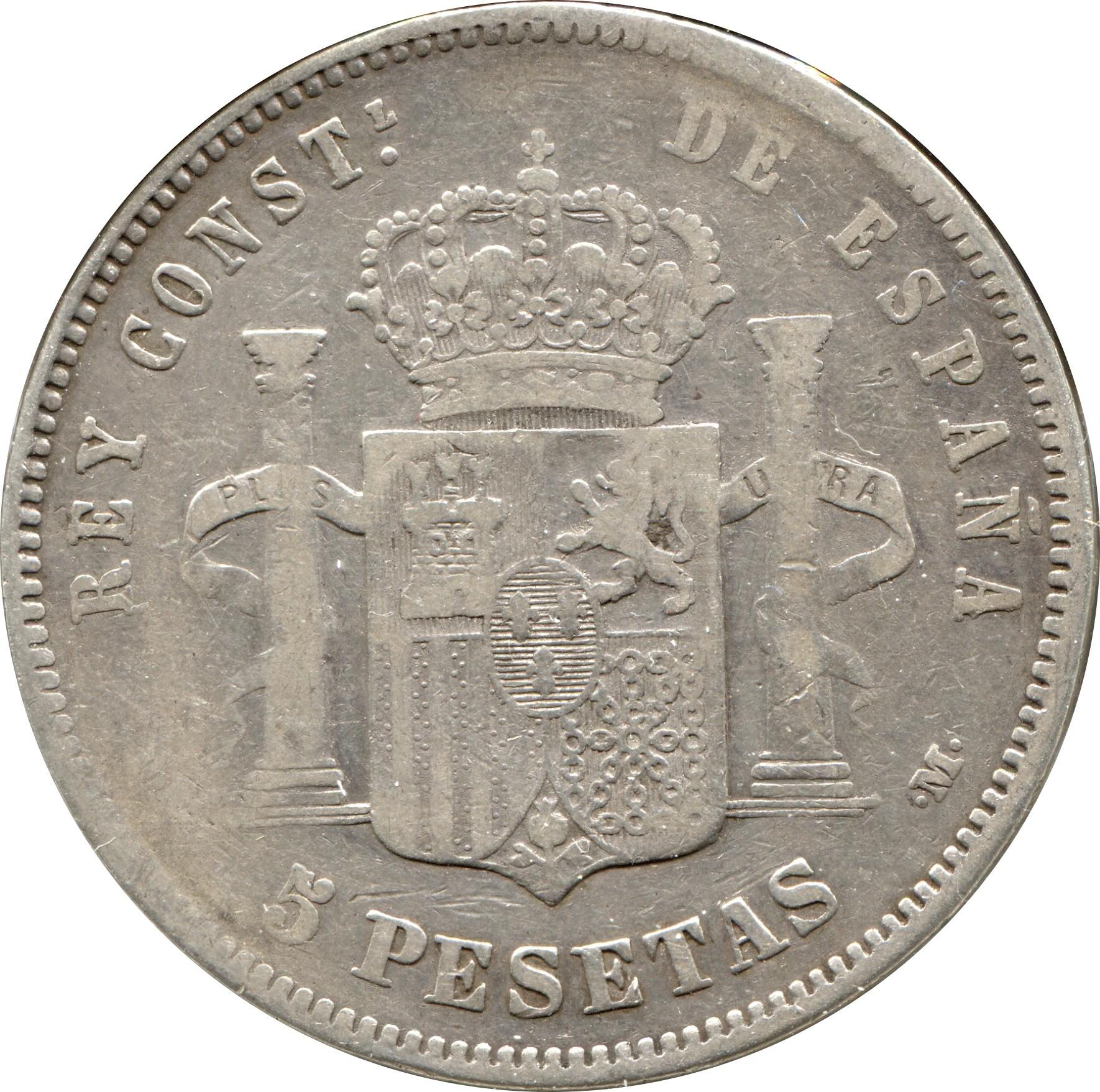 Spain 5 Pesetas (1877-1881 Alfonso XII)