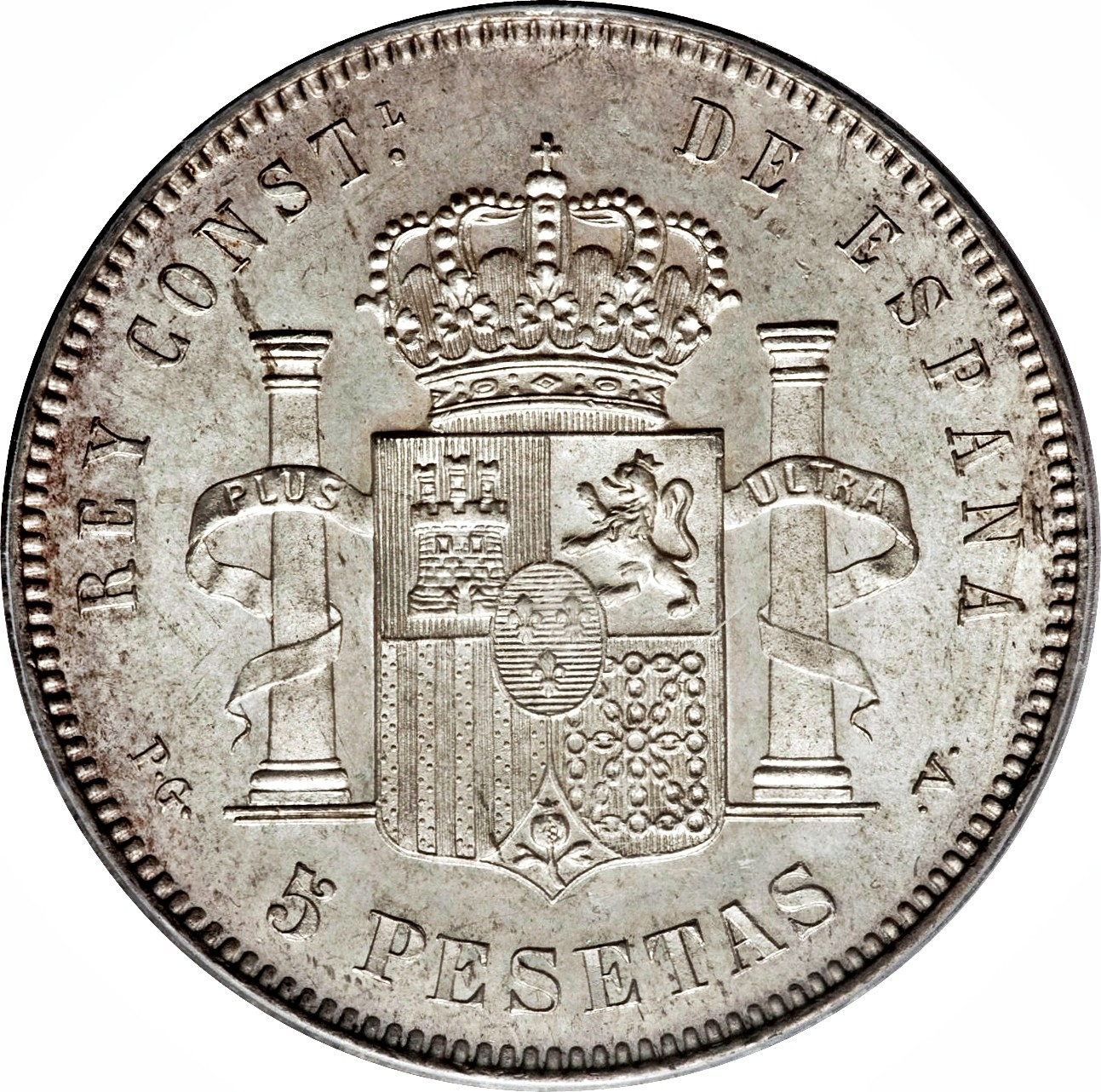 Spain 5 Pesetas (1892-1894 Alfonso XIII)