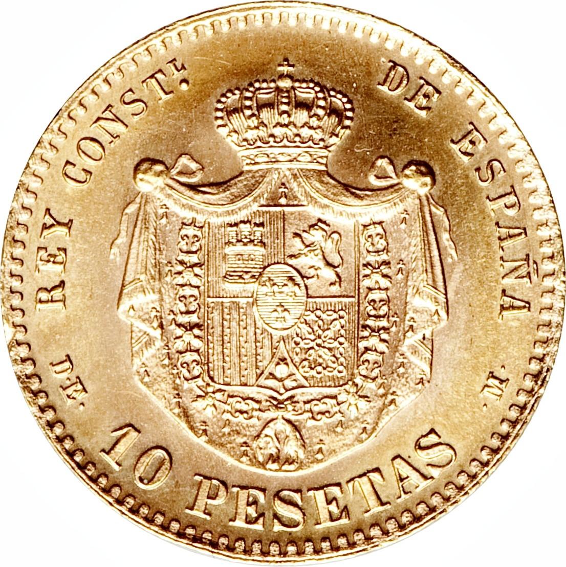 Spain 10 Pesetas (1878-1879 Alfonso XII)