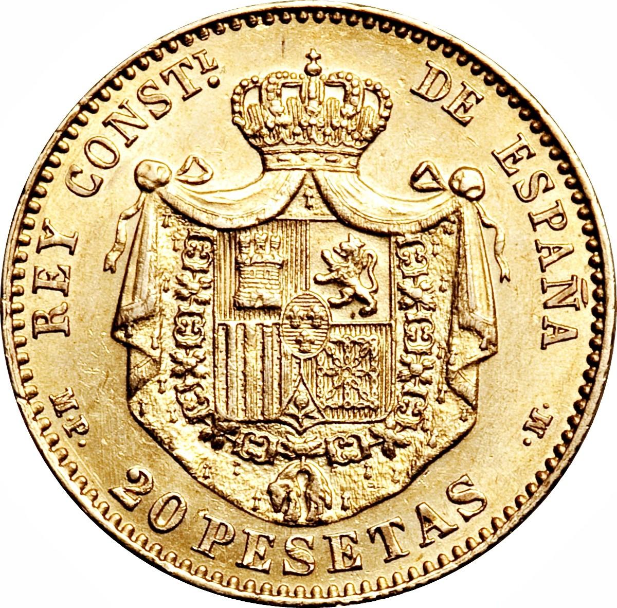 Spain 20 Pesetas (1887-1890 Alfonso XIII)