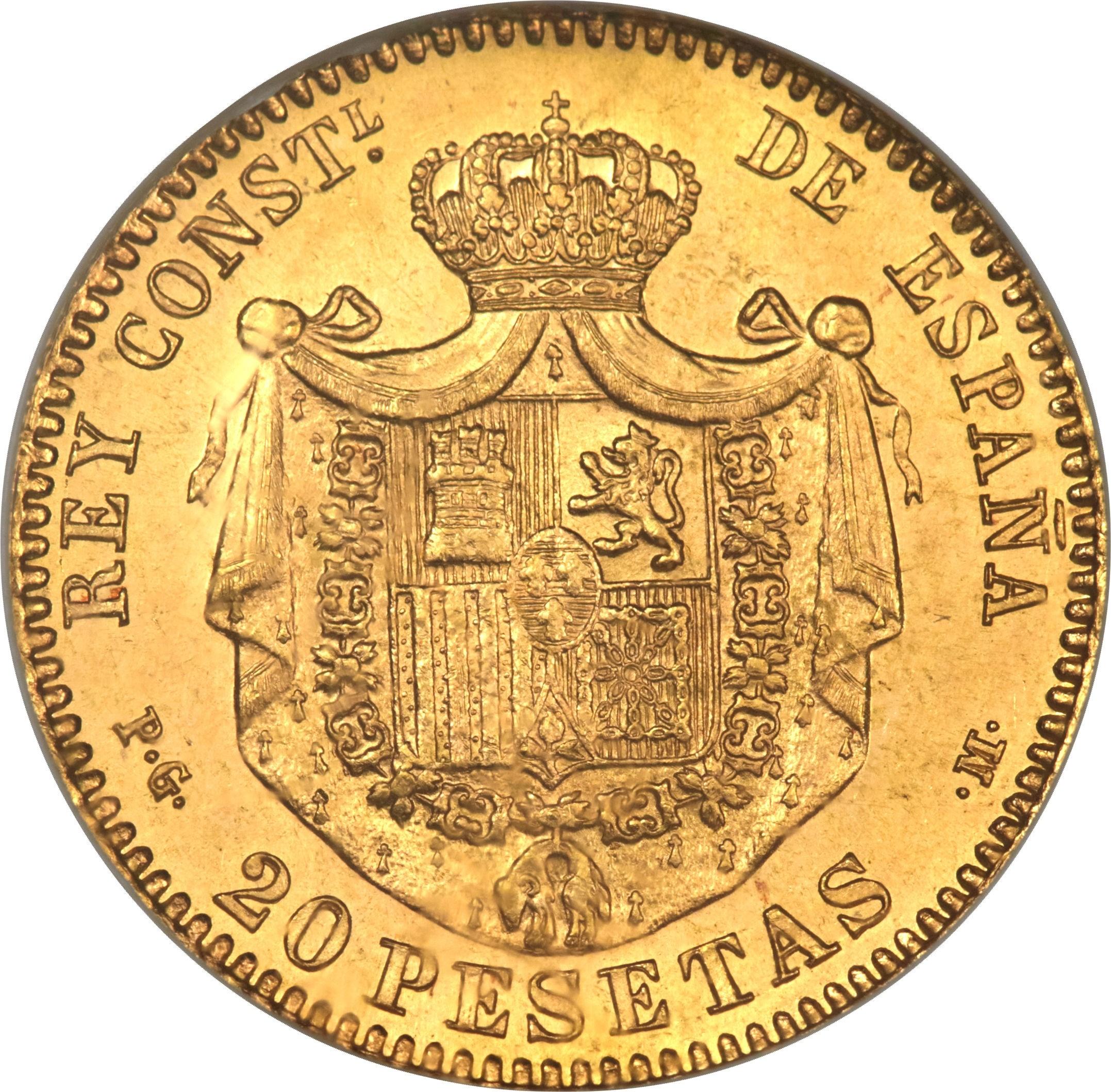Spain 20 Pesetas (1892 Alfonso XIII)