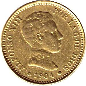 Spain 20 Pesetas (1904 Alfonso XIII)