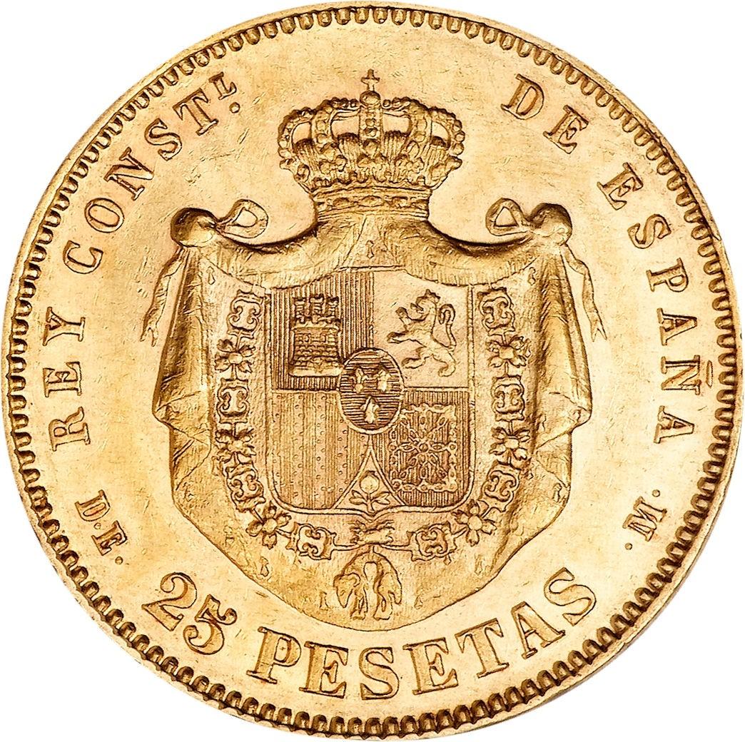 Spain 25 Pesetas 1876-1881 Alfonso XII)