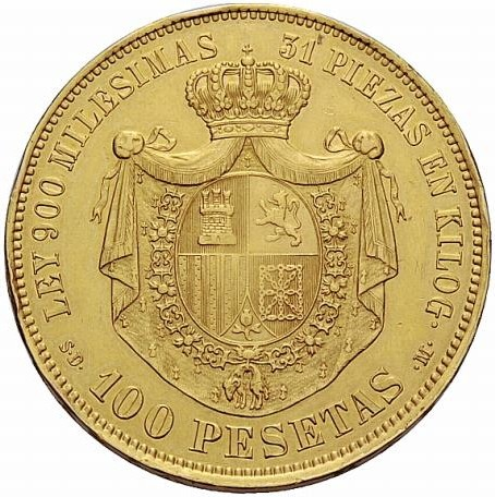 Spain 100 Pesetas (1870 Provisional Government)