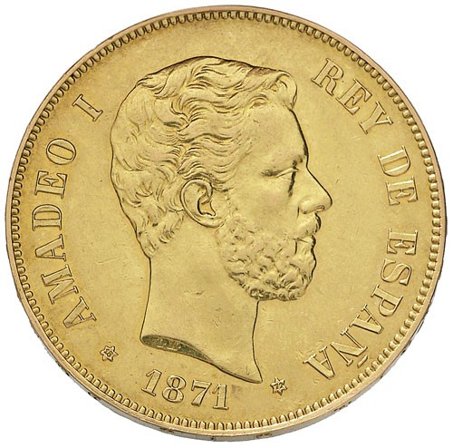 Spain 100 Pesetas (1871 Amadeo I)