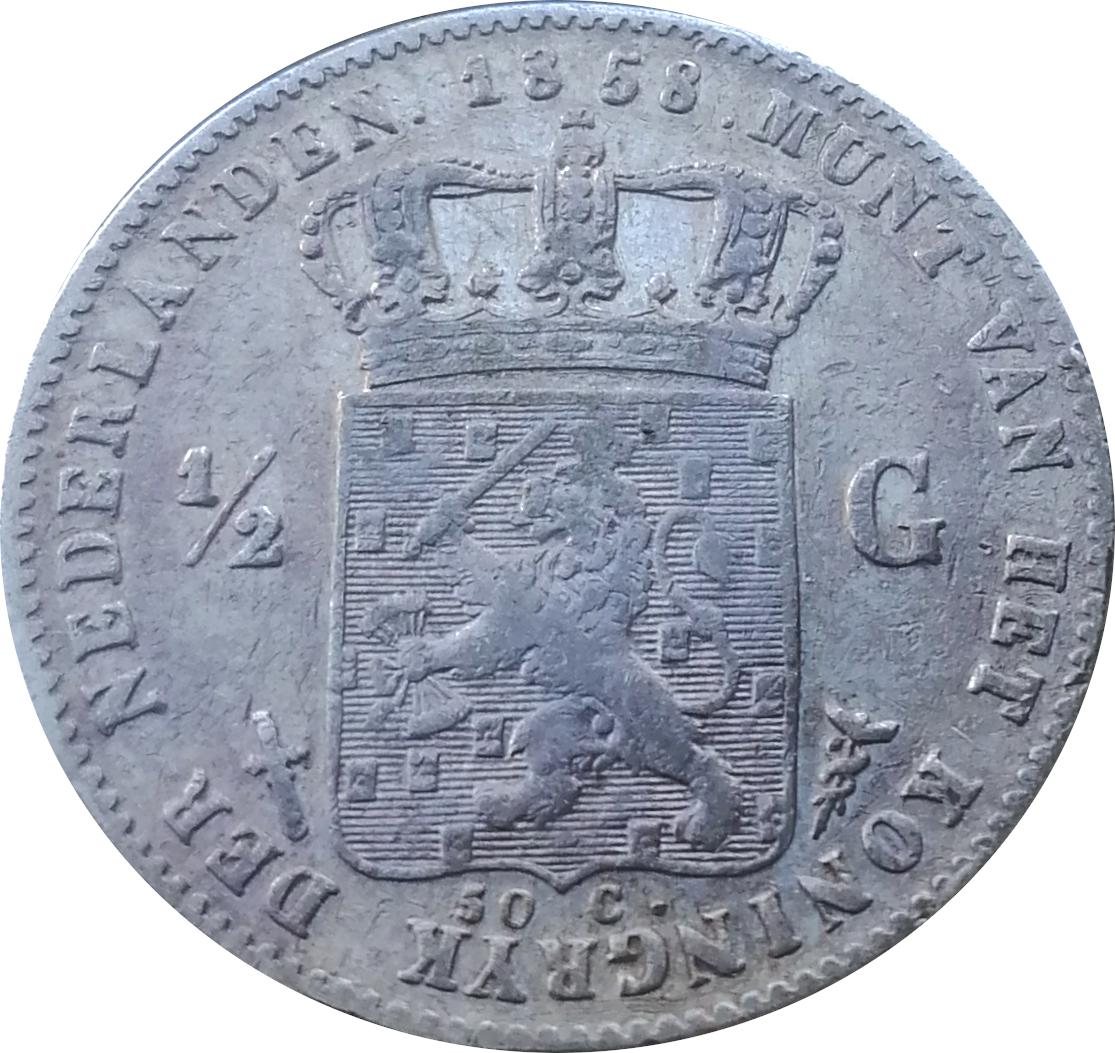 Netherlands ½ Gulden  (1850-1868 Willem III)