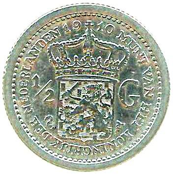 Netherlands ½ Gulden  (1910-1919 Wilhelmina)