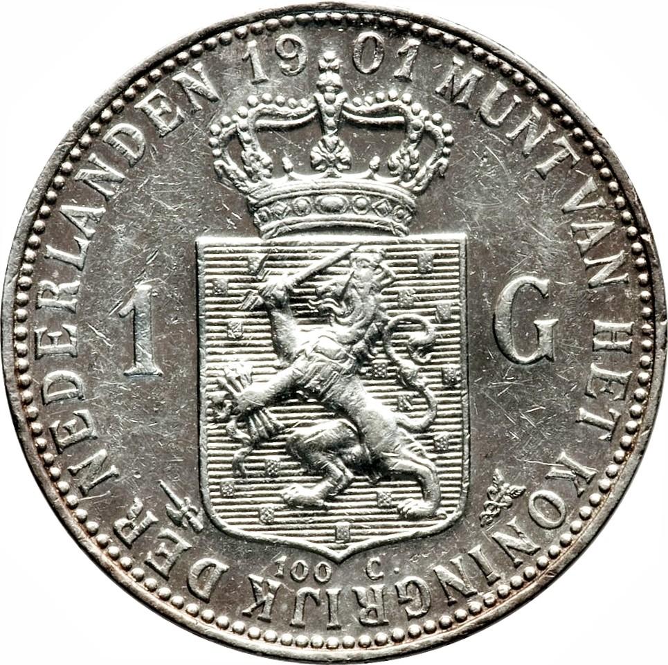 Netherlands 1 Gulden  (1898-1909 Wilhelmina)