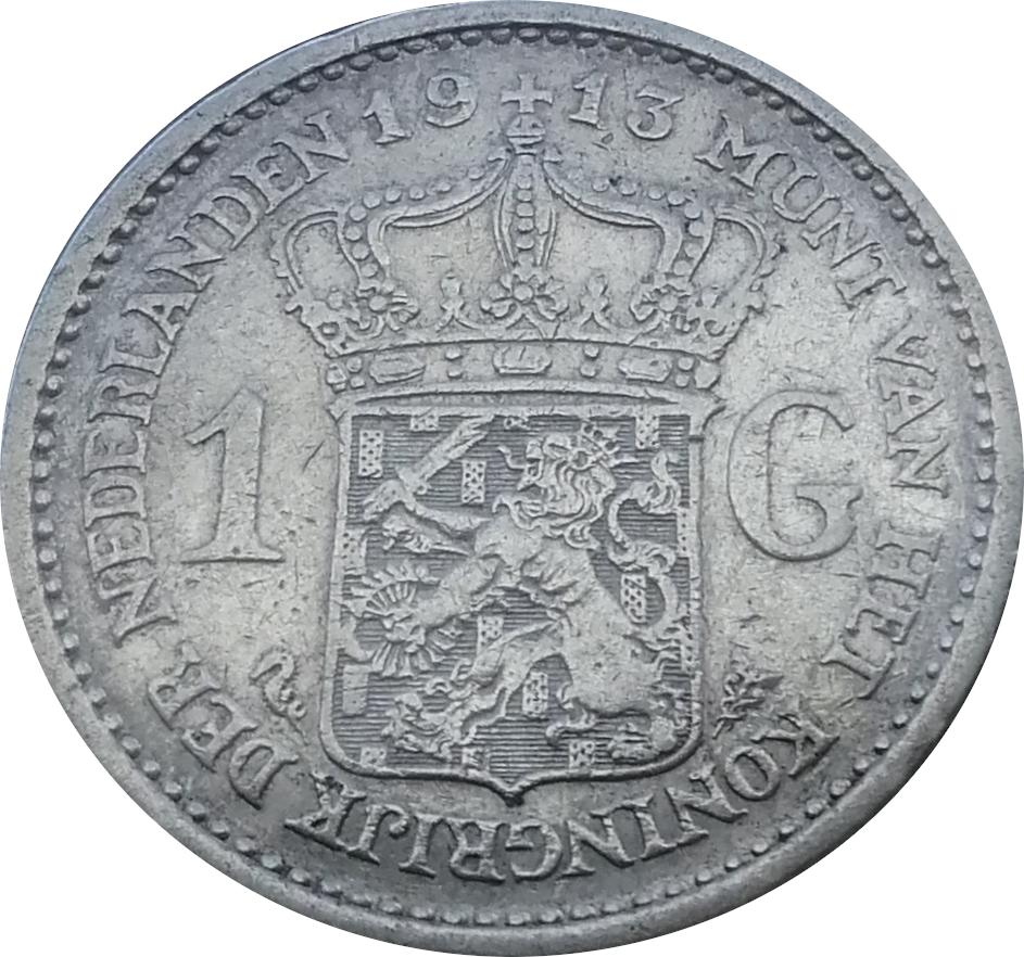 Netherlands 1 Gulden  (1910-1917 Wilhelmina)
