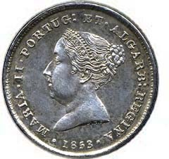 Portugal 100 Réis (1853 Maria II)