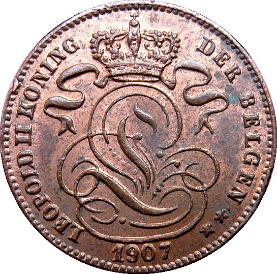 Belgium 1 Centime (1887-1907 Léopold II-Dutch text)