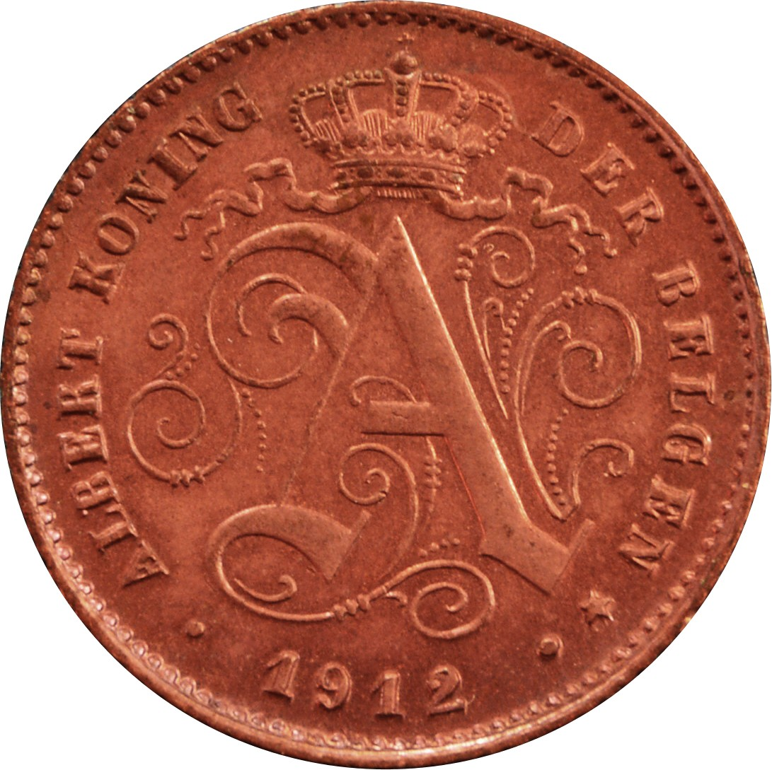 Belgium 1 Centime (1912 Albert I-Dutch text)
