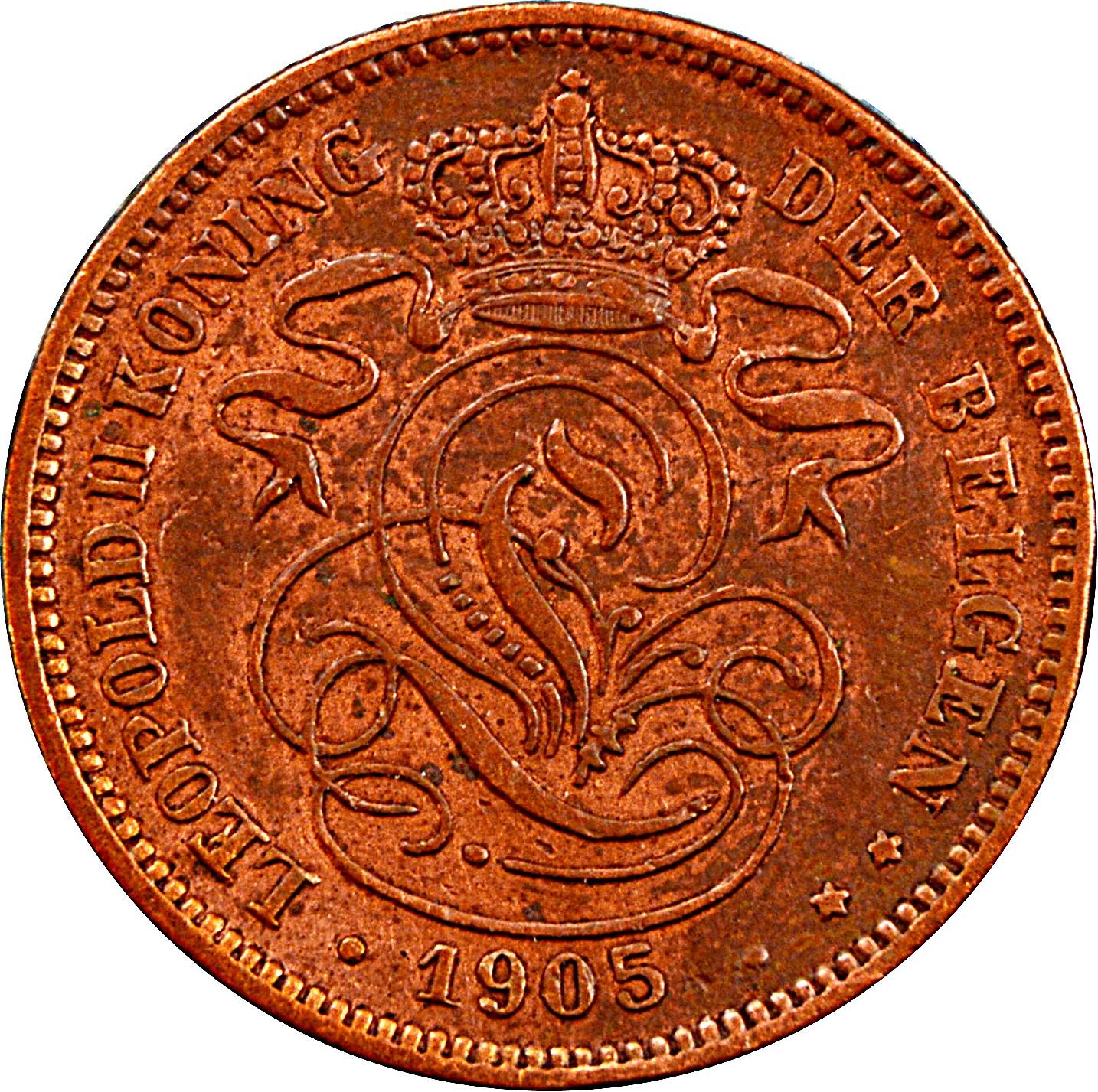 Belgium 2 Centimes (1902-1909 Léopold II-Dutch text)