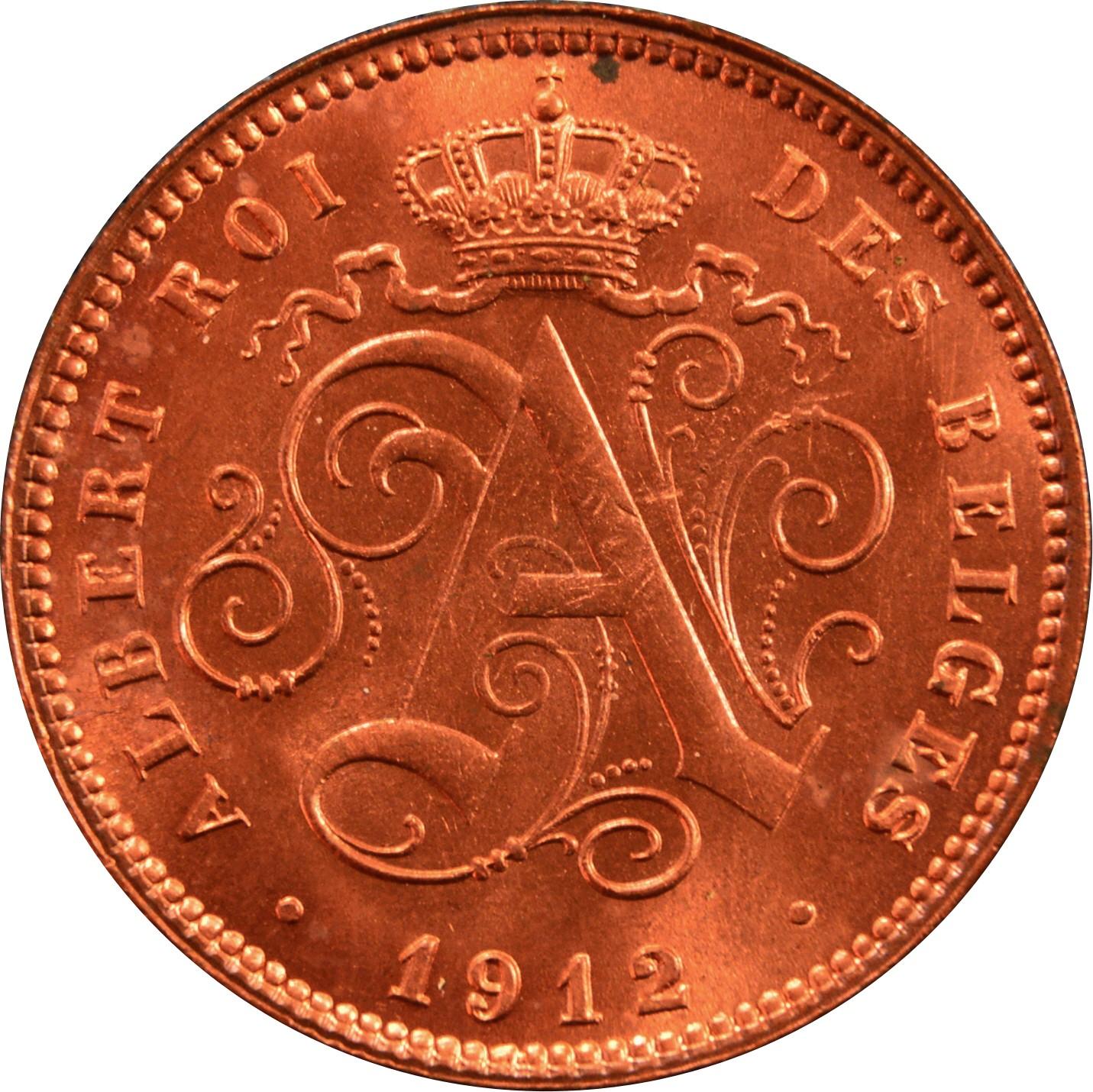 Belgium 2 Centimes (1911-1919 Albert I-French text)