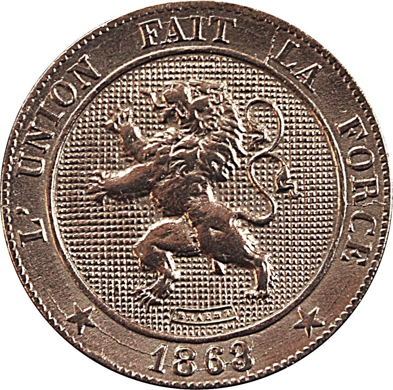 Belgium 5 Centimes (1861-1864 Léopold I)